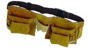 Centură pentru scule, din piele, 6 buzunare, 8 port-accesorii