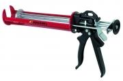 Pistolet pentru silicon, tija pistonului tratată, avansare regulată printr-un piston dublu, 380 ml